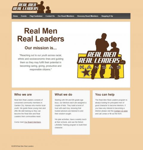 Real Men Real Leaders homepage
