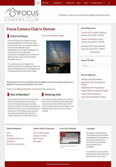 Focus Camera Club site rebranding Feb 2018.