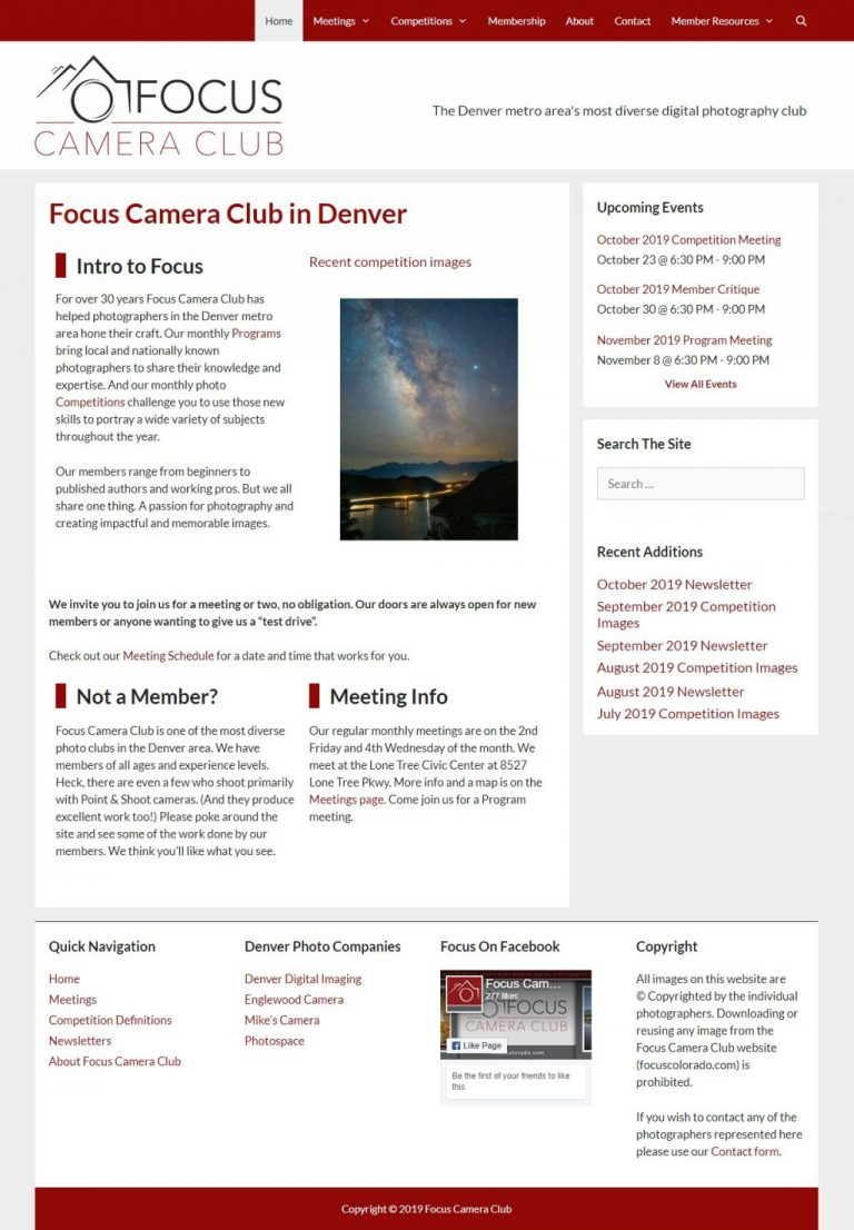 Focus Camera Club site rebranding Feb 2018.